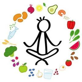 Einfaches Strichmnnchen im Schneidersitz. Gesunde Lebensmittel im Kreis. Ausgewogene Ernhrung und Yoga, Entspannungsbung, Stressabbau. Schwarze Strichfigur auf weiem Hintergrund